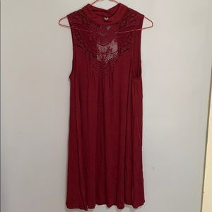 HeartSoul Deep Red Flowy Dress w/ Lace Cutout sz M